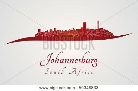 Johannesburg Skyline In Red