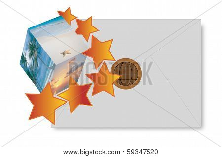 Illustration Envelope  Landscape And Stars