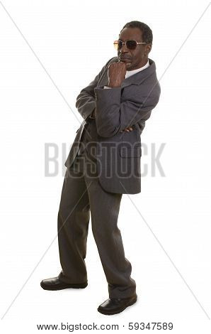Afroamerican Senior In Grey Suit With Sunglasses