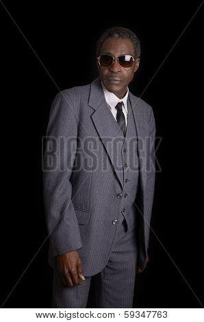 Senior Black African American Man In Grey Suit