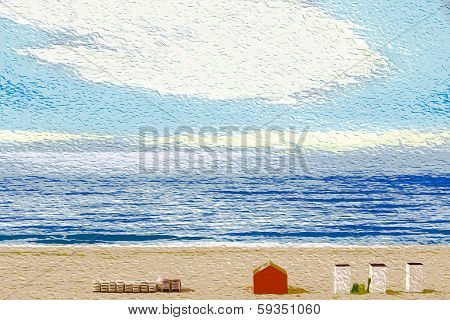 Beach at sunrise, impressionist style
