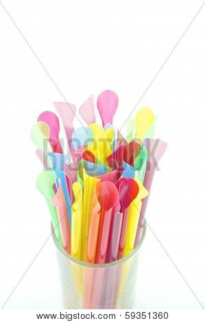 Colorful Straw Isolated On White Background