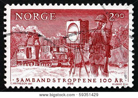 Postage Stamp Norway 1988 Army Signal Corps On Duty
