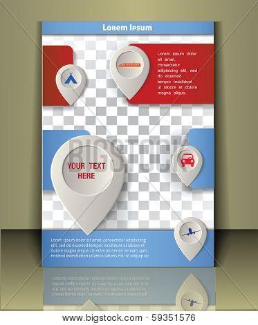 Vector travel brochure, flayer, magazine cover.