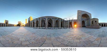 Panorama (equirectangular projection) of oriental buildings of Poi Kalyan complex. Bukhara, Uzbekistan