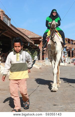 DAHAB, EGYPT - JANUARY 30, 2011: Young local boy leading female tourist on a camel. Local bedouins rely on tourism to make a living in the harsh desert.