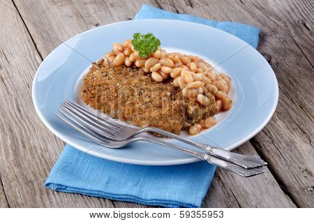 Cod Fillet In Bread Crumbs With Baked Beans