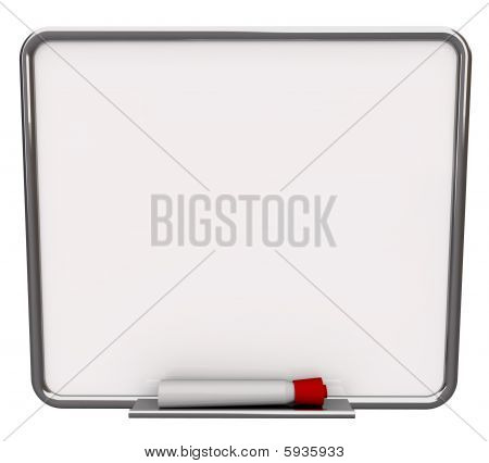 Blank White Dry Erase Board With Red Marker