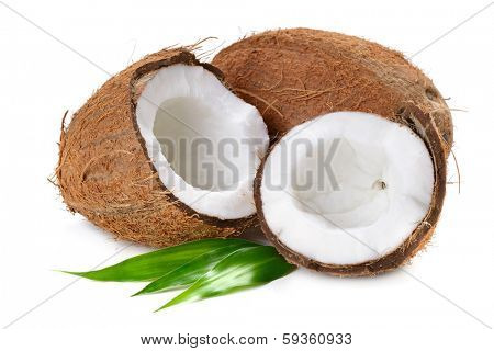 Coconut flakes with coconut in wooden bowl on the white background