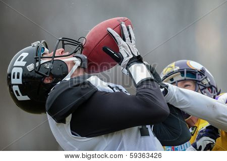 VIENNA,  AUSTRIA - MARCH 24 WR Dan Bala���¾ovi��� (#17 Panthers) catches the ball during the AFL football game on March 24, 2013 in Vienna, Austria.