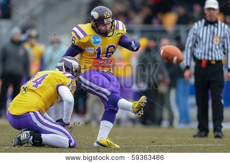 VIENNA,  AUSTRIA - MARCH 24 P Christopher Kappel (#16 Vikings) kicks the ball during the AFL football game on March 24, 2013 in Vienna, Austria.