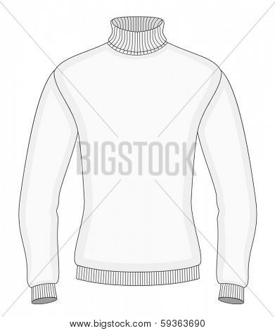 Men's sweater design template (front view). Vector illustration. No mesh. Redact color very easy.