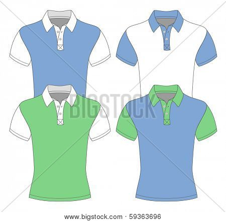 Men's short sleeve polo shirt design templates (front view). different color variants. Vector illustration. No mesh. Redact color very easy.