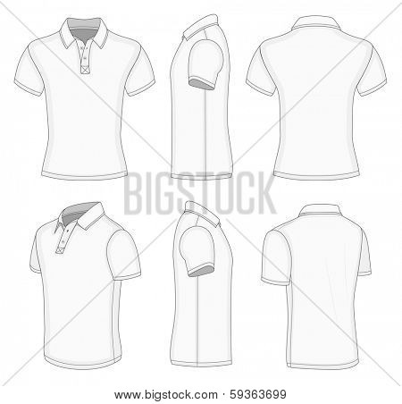 All views men's white short sleeve polo shirt design templates (front, back, half-turned and side views). Vector illustration. No mesh. Redact color very easy!