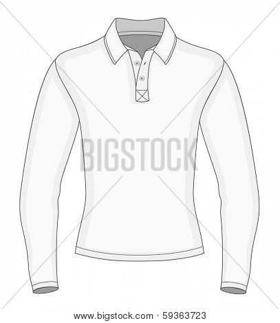 Men's long sleeve polo shirt design templates (front view). Vector illustration. No mesh. Redact color very easy.