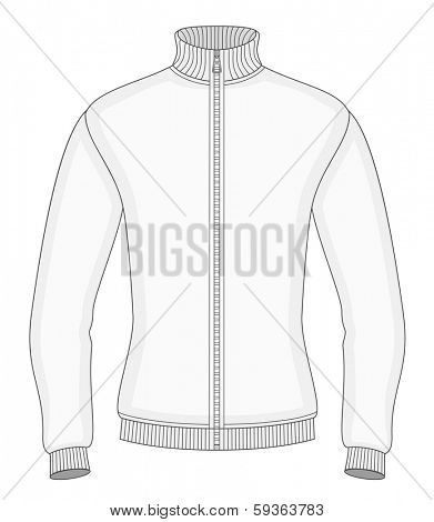 Men's sweater with zip design template (front view). Vector illustration. No mesh. Redact color very easy.