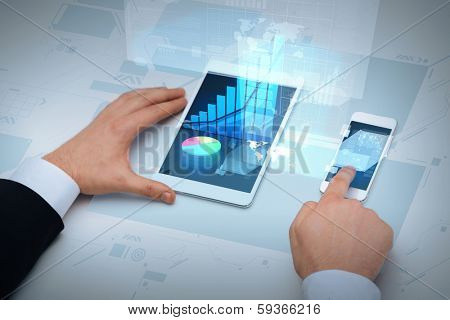 business, internet and technology concept - close up of businessman hands working with table pc and smartphone
