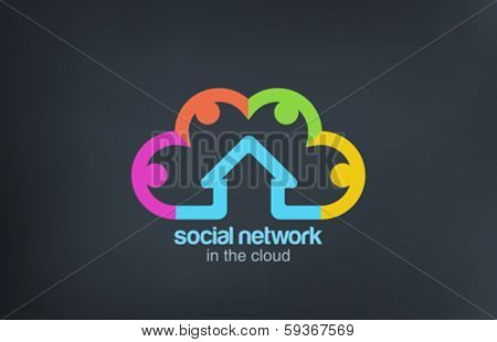 Social Cloud vector logo design template. Social Marketing Network concept symbol. Startup business abstract idea.