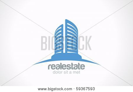 Real Estate vector logo design template. Skyscraper Business abstract creative concept symbol. Realty Building Silhouette sign on horizon as logotype idea. Architect Construction Idea.