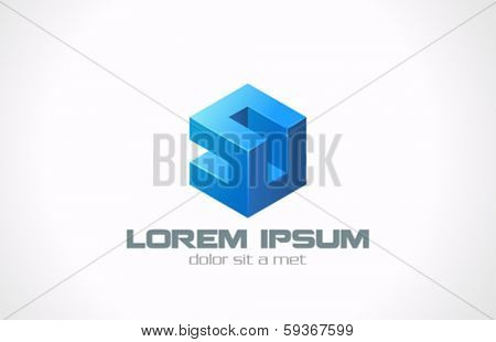 Box abstract puzzle vector logo design template. Logic cube programming creative symbol. Coding concept idea for logotype. Technology Business Blue sign.