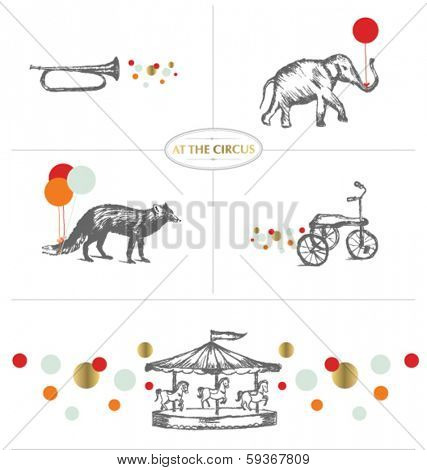 AT THE CIRCUS. ILLUSTRATED ELEMENTS