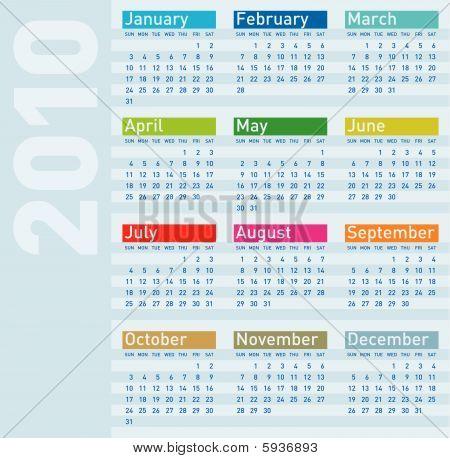 Calendar for year 2010,