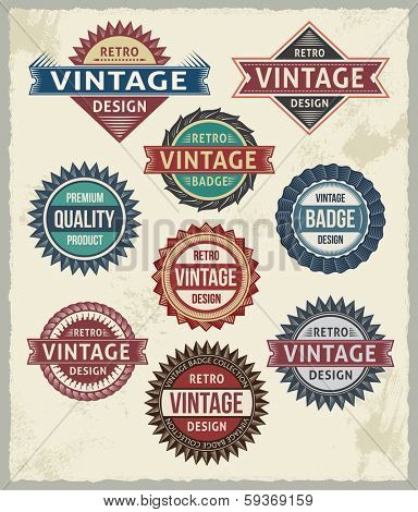 Set of retro vintage badges and labels with background texture