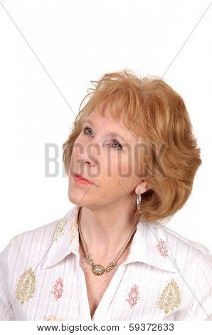 portrait of a Happy smiling older woman isolated on white
