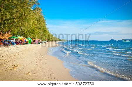 Beautiful tropical  beach Otres in Sihanoukville, Cambodia .