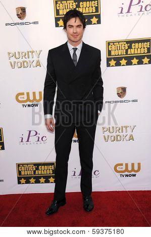 LOS ANGELES - JAN 16:  Ian Somerhalder arrives to the Critics' Choice Movie Awards 2014  on January 16, 2014 in Santa Monica, CA