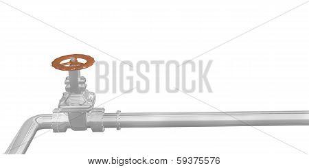 chrome pipe and valve closeup