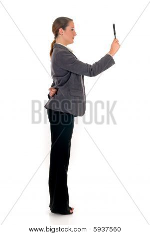 Businesswoman Magnifying Glass