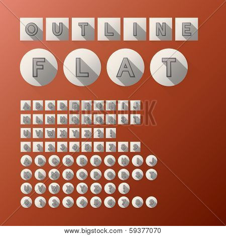 Flat Outline Font And Numbers, Eps 10 Vector, Editable For Any Background, No Clipping Mask