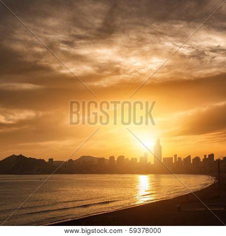 View of Benidorm on sunset, Costa Blanca, Spain