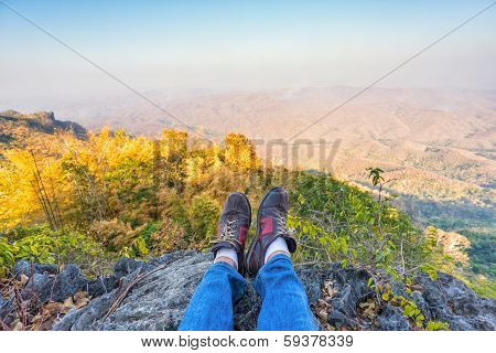 Shoes Of A Man On Mountain