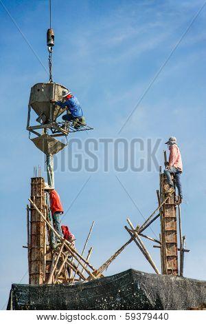 worker men working on foundation