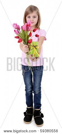 Beautiful little girl holding bouquet and present box isolated on white