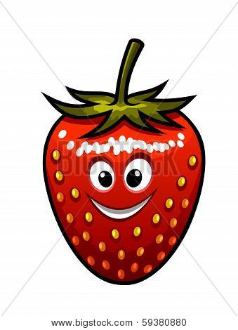 Smiling strawberry with a green stalk