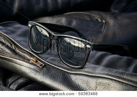 Leather Jacket Detail With Sunglasses