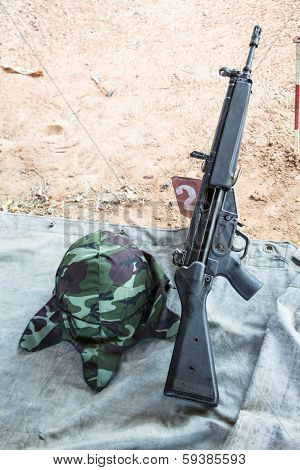 Hk33 Rifle With Military Helmet