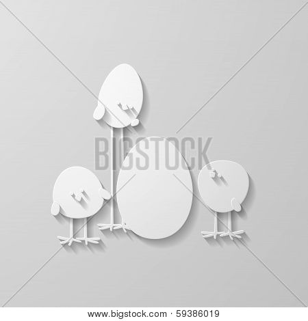 Easter chicks, 3D style, in the form of layers of paper or paperboard