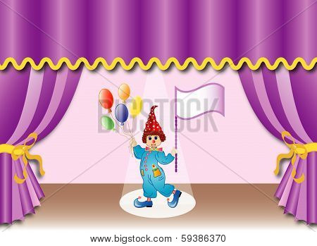 Theater curtain with clown, eps