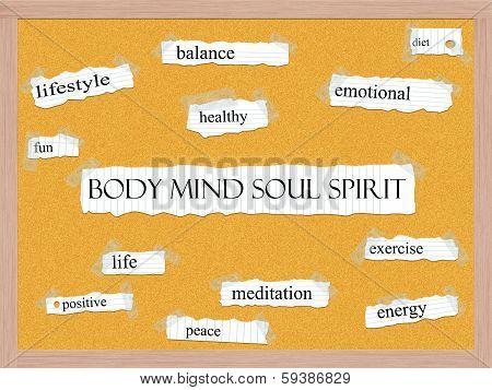 Body Mind Soul Spirit Corkboard Word Concept