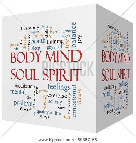 Body Mind Soul Spirit 3D Cube Word Cloud Concept