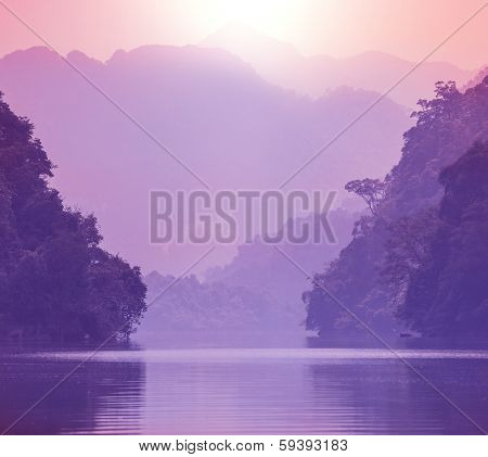 Serenity river in Vietnamese jungle