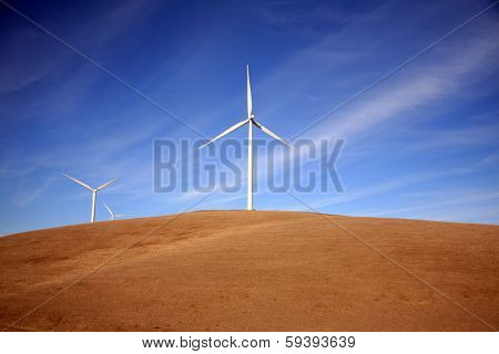 Wind Turbines in Central California produce electricity with the power of the wind. Wind Power is a Green Energy source which helps reduce Global Warming by harnessing the power of the wind.