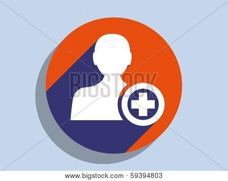 Flat long shadow icon of add friend icon