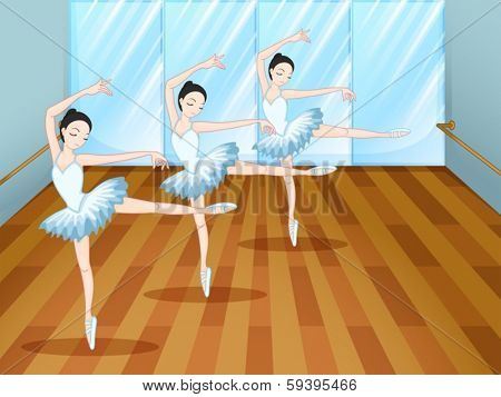 Illustration of the three ballet dancers inside the studio