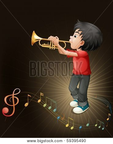 Illustration of a young man playing with his trombone