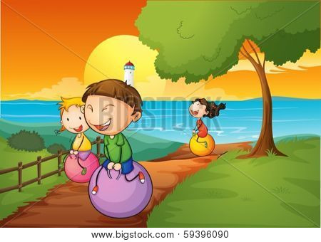 Illustration of the happy kids playing with the bouncing balls
